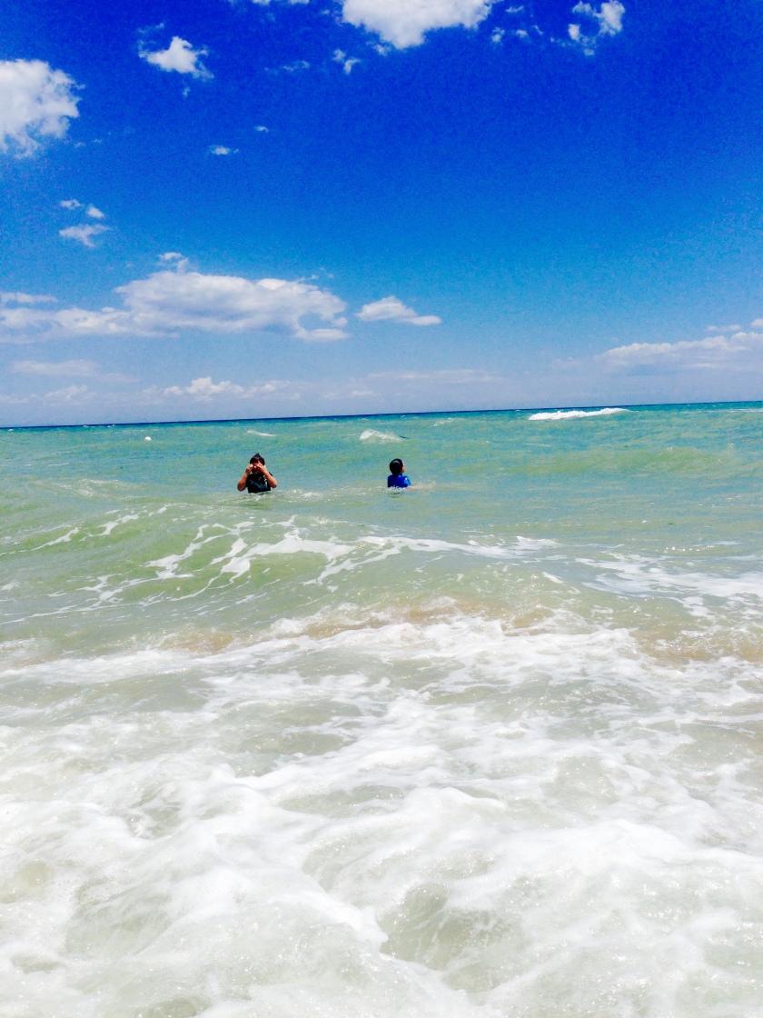 my kids swimming at Metaponto