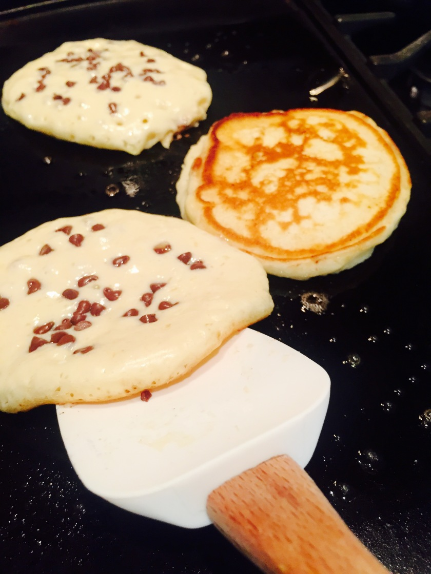chocolate chip pancakes ready to flip
